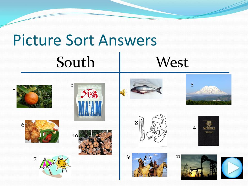 Picture Sort Answers South West 5 3 2 1 8 4 6 10 9 11 7