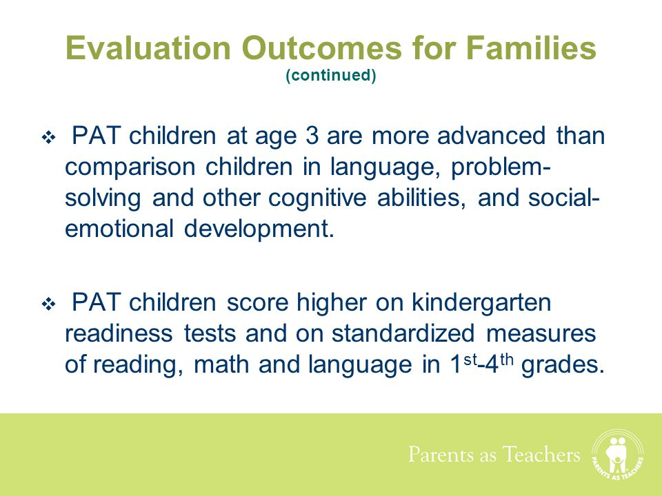 Evaluation Outcomes for Families (continued)