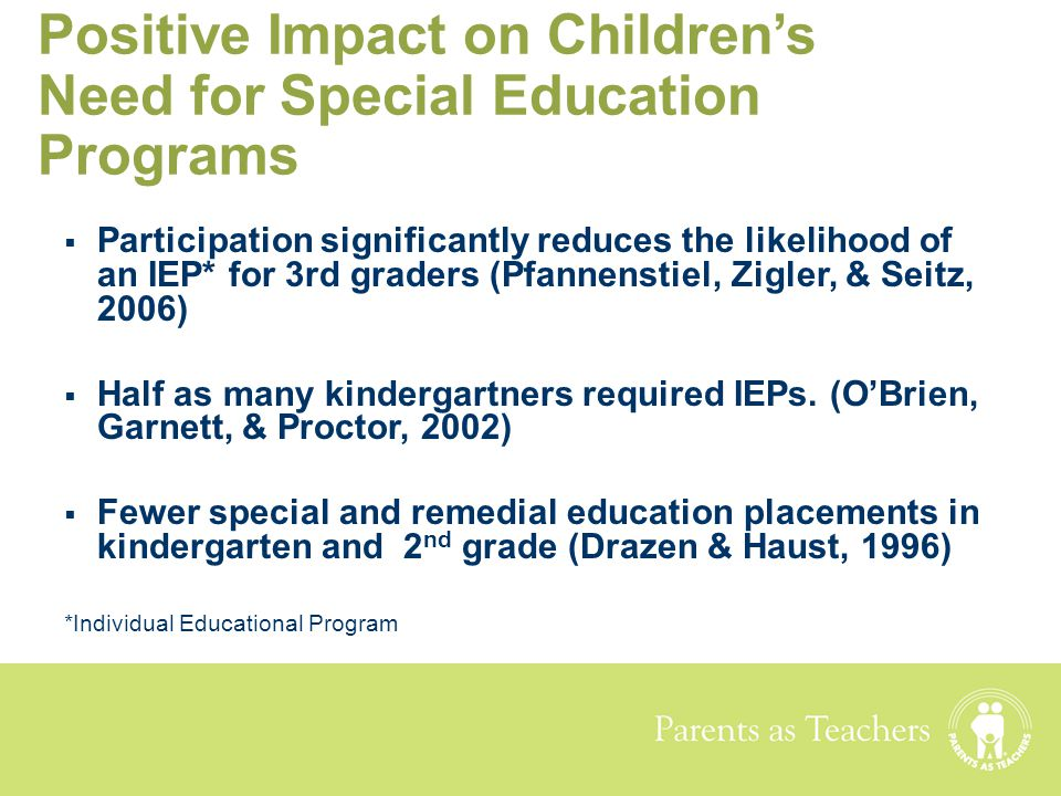 Positive Impact on Children's Need for Special Education Programs