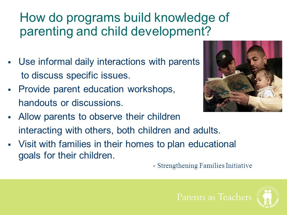 How do programs build knowledge of parenting and child development