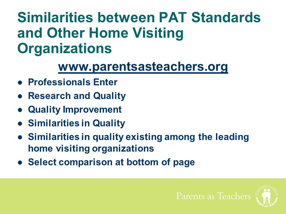 Similarities between PAT Standards and Other Home Visiting Organizations