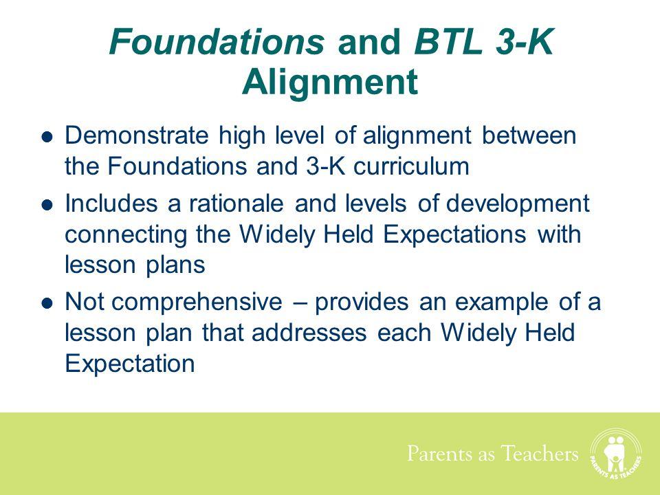 Foundations and BTL 3-K Alignment