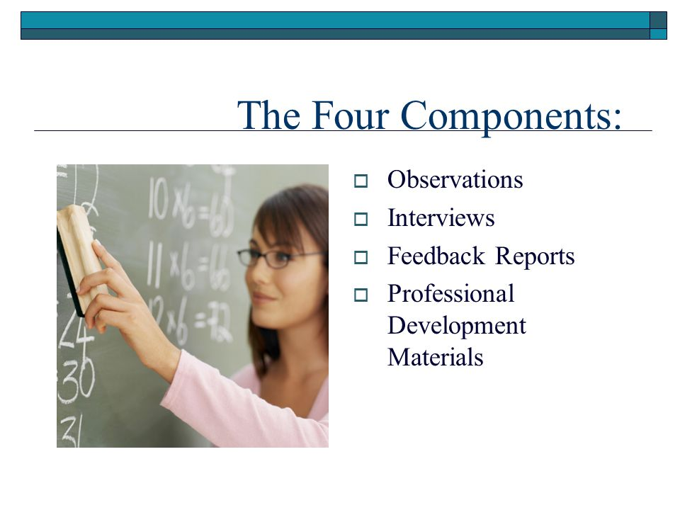 The Four Components: Observations Interviews Feedback Reports