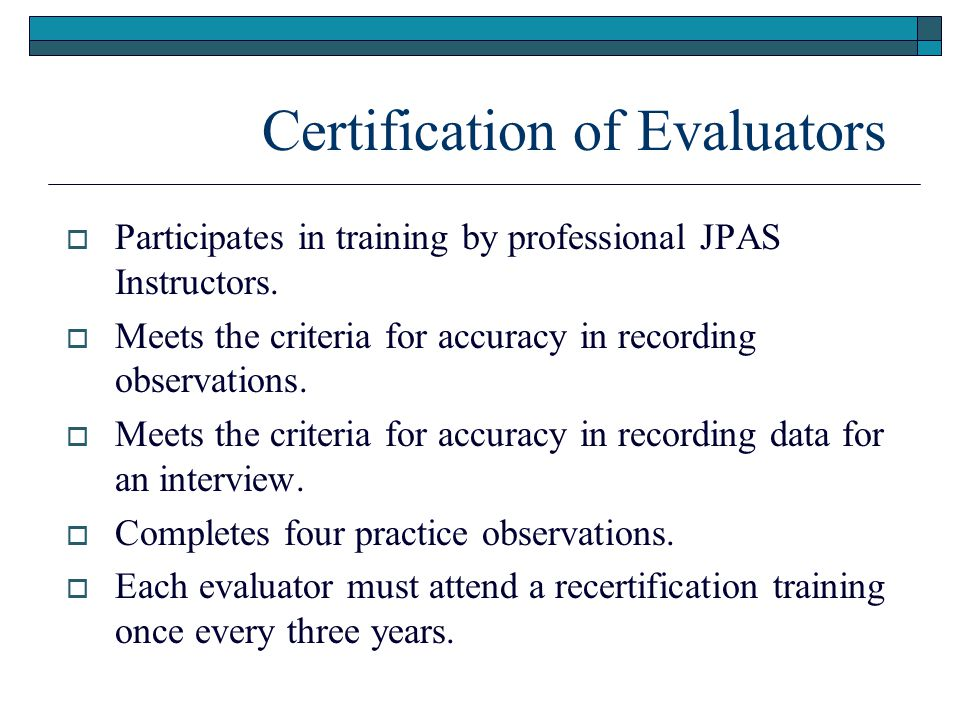 Certification of Evaluators