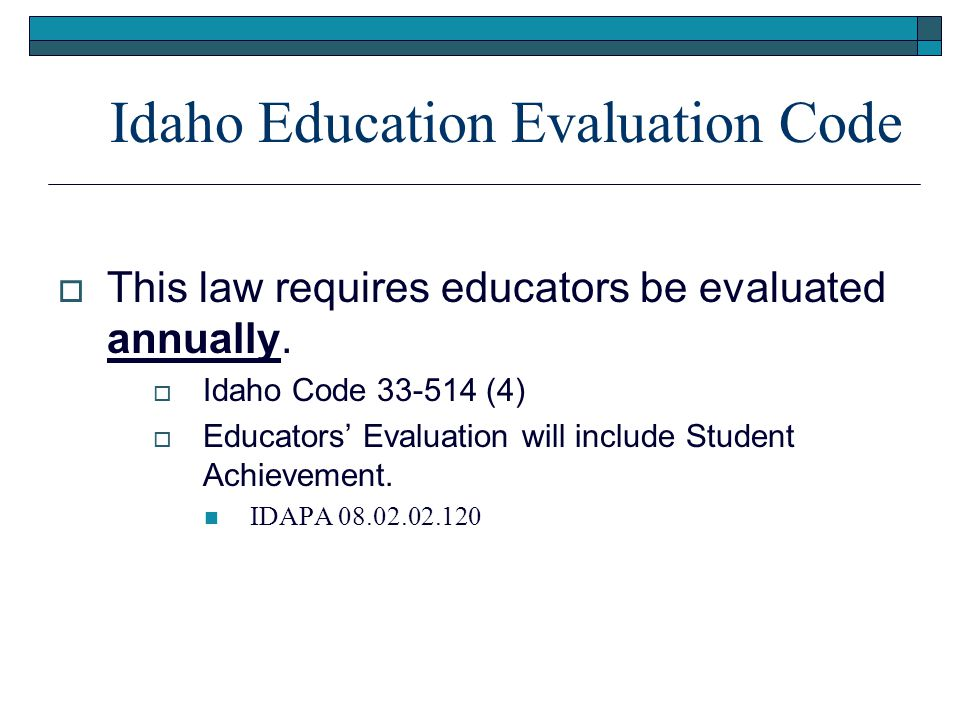 Idaho Education Evaluation Code