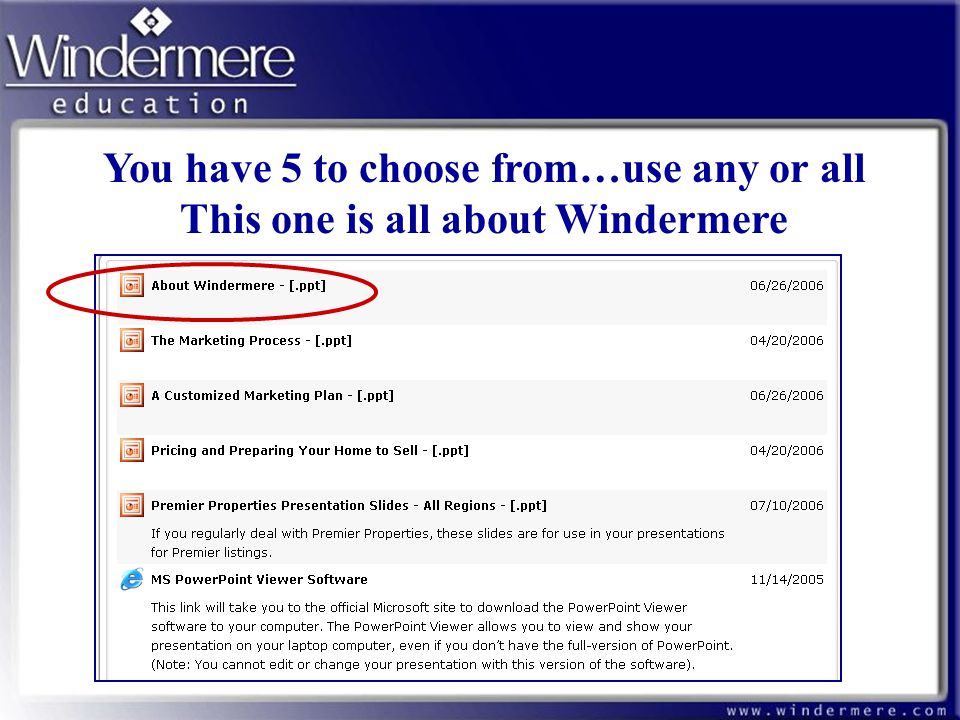 You have 5 to choose from…use any or all This one is all about Windermere