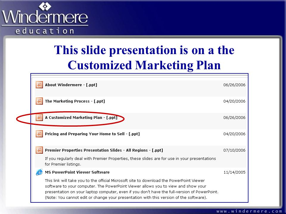 This slide presentation is on a the Customized Marketing Plan
