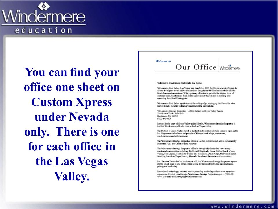You can find your office one sheet on Custom Xpress under Nevada only