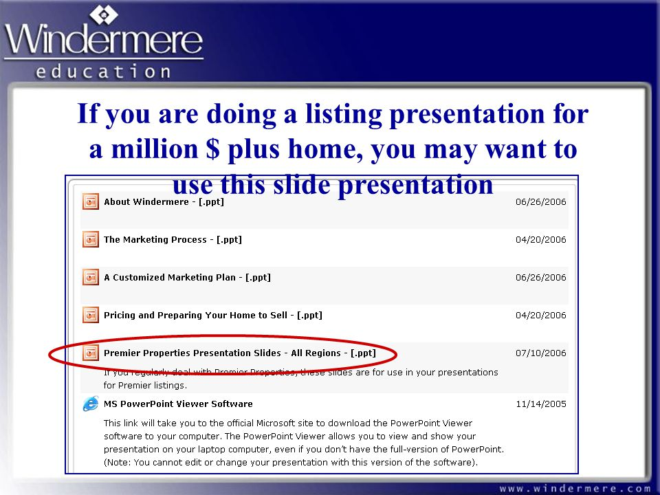 If you are doing a listing presentation for a million $ plus home, you may want to use this slide presentation