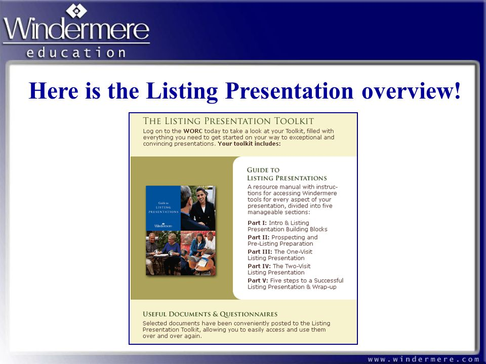 Here is the Listing Presentation overview!