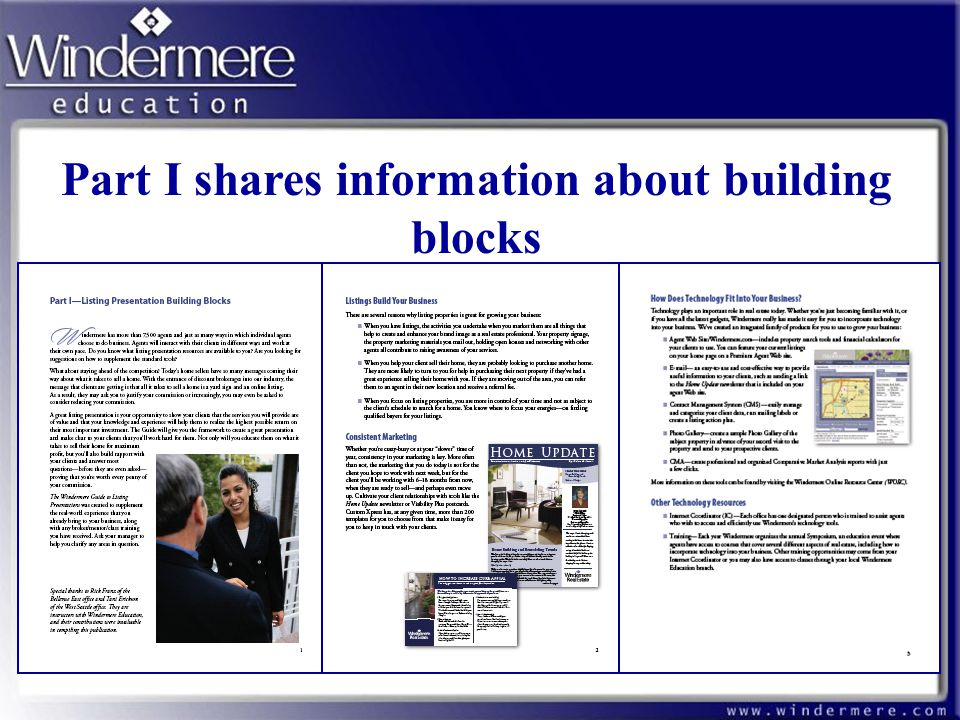 Part I shares information about building blocks