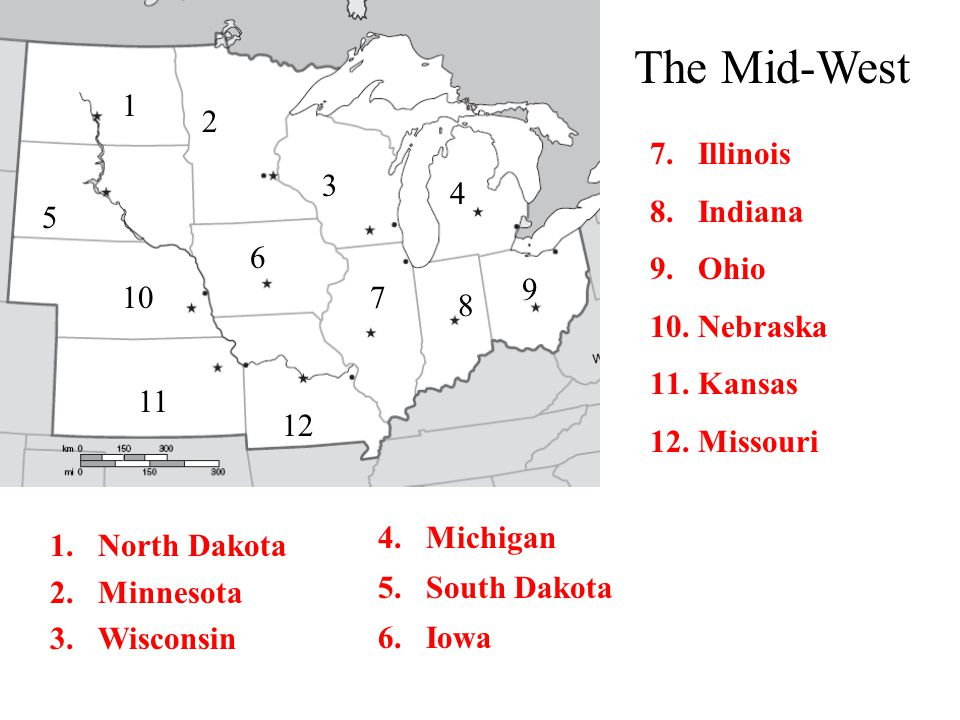 The Mid-West 1 2 Illinois Indiana Ohio Nebraska Kansas Missouri 3 4 5