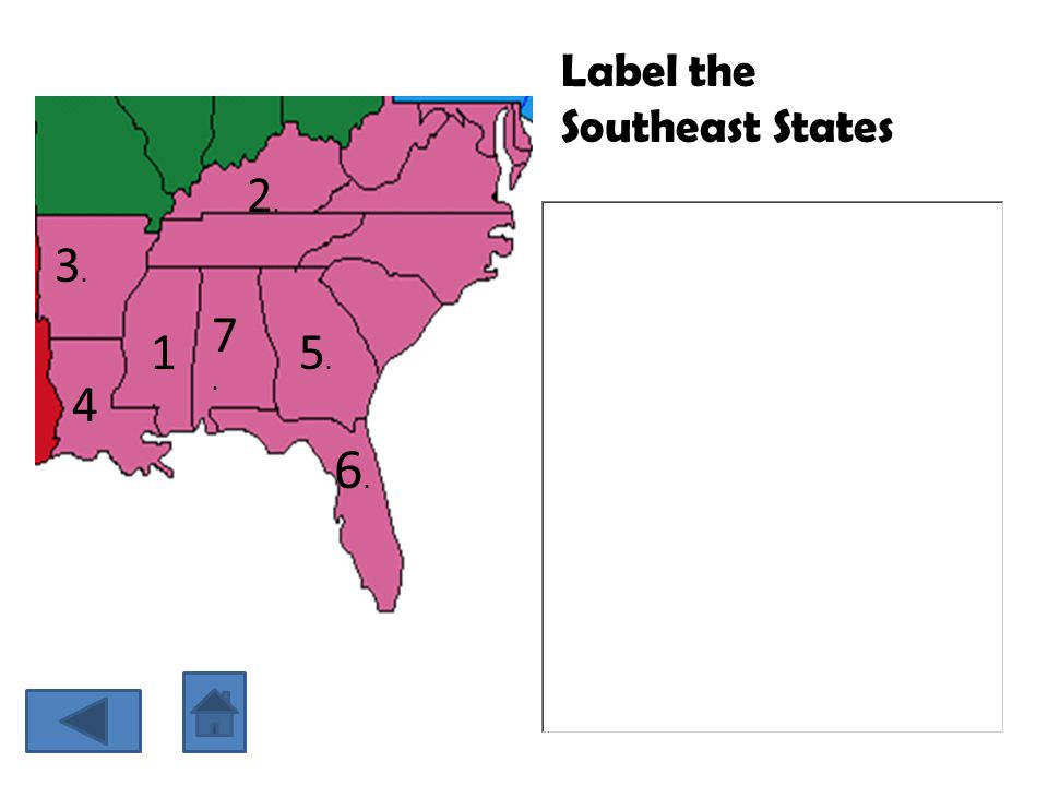 Label the Southeast States