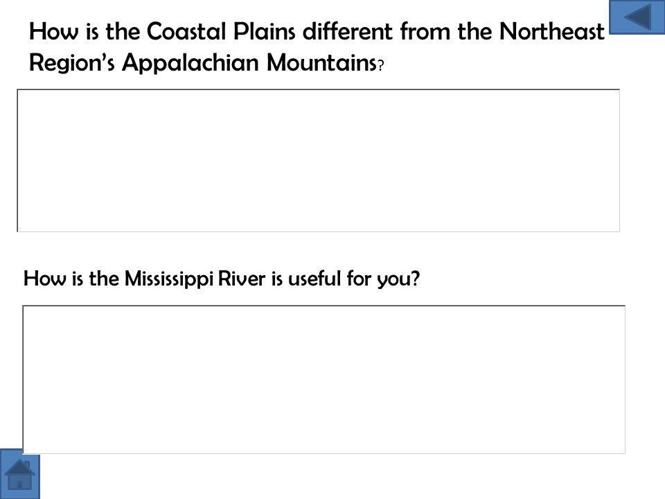 How is the Coastal Plains different from the Northeast Region's Appalachian Mountains