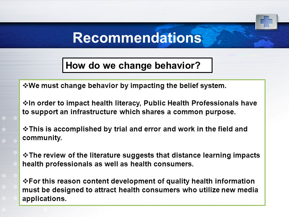 Recommendations How do we change behavior