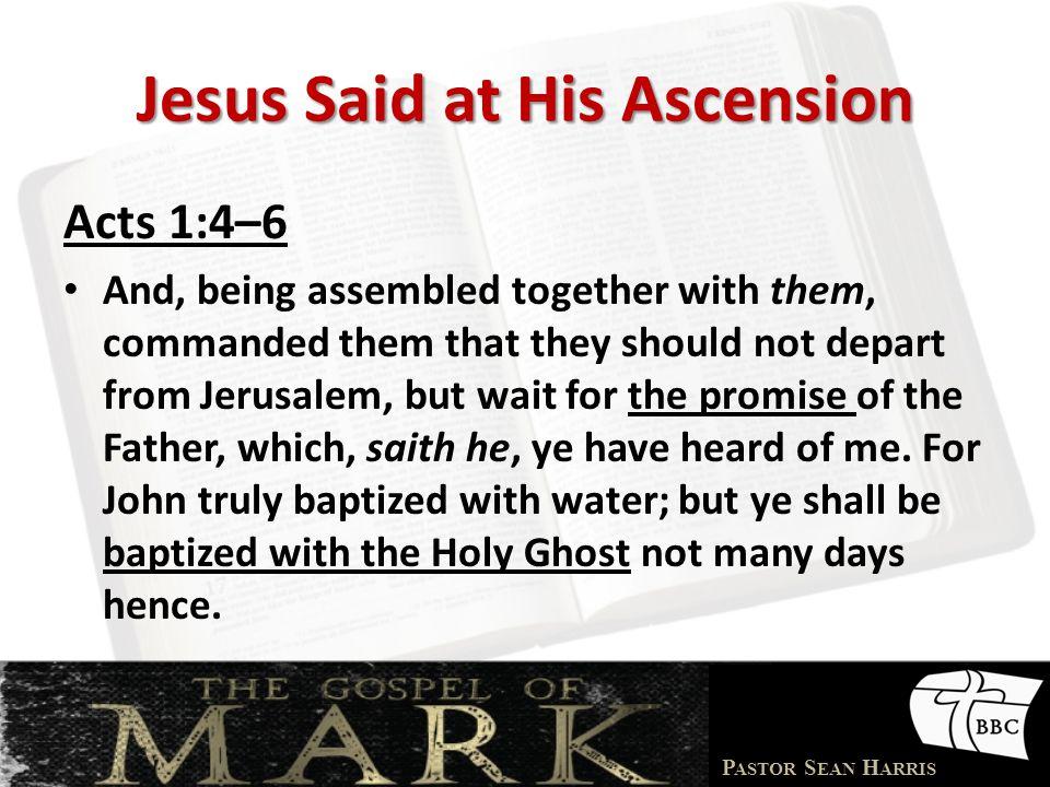Jesus Said at His Ascension