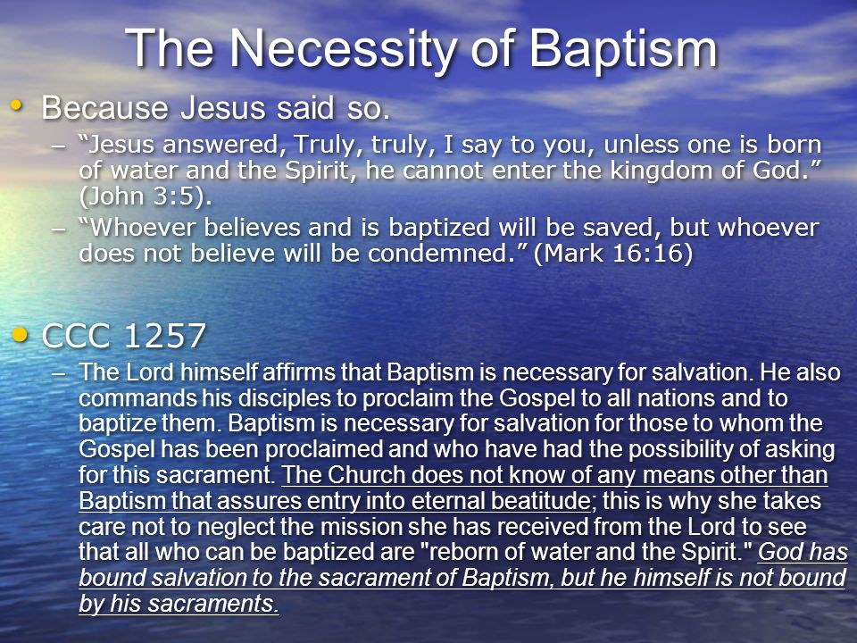 The Necessity of Baptism