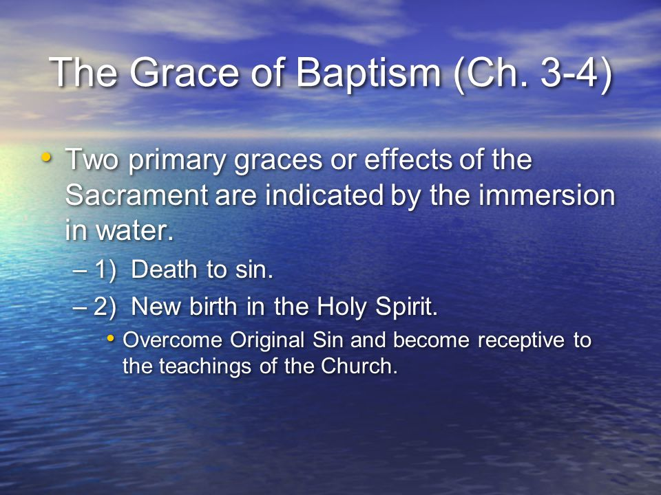 The Grace of Baptism (Ch. 3-4)