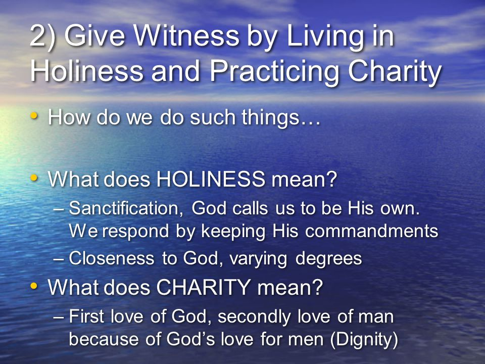 2) Give Witness by Living in Holiness and Practicing Charity