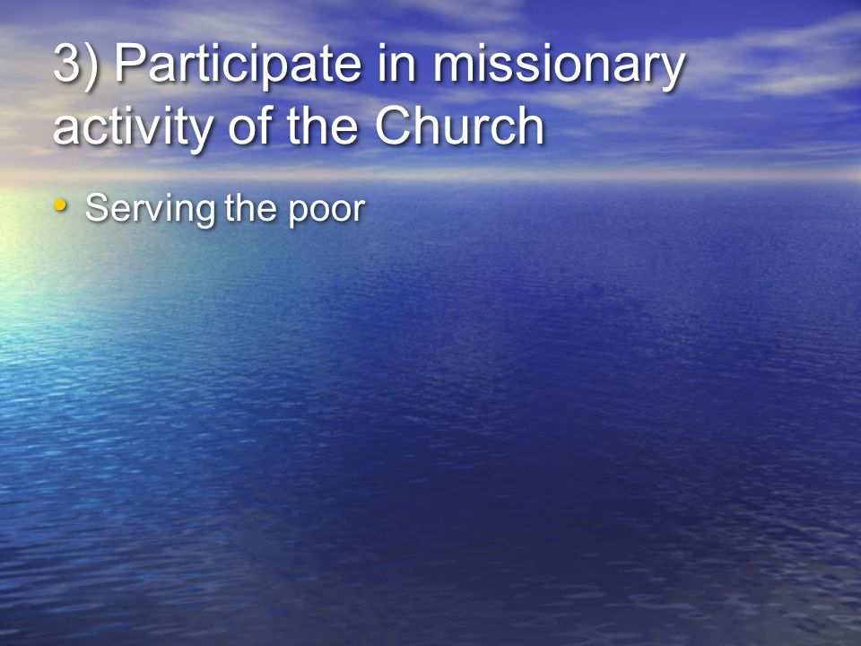3) Participate in missionary activity of the Church