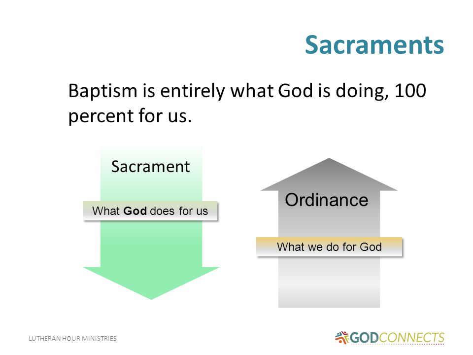 Sacraments Baptism is entirely what God is doing, 100 percent for us.