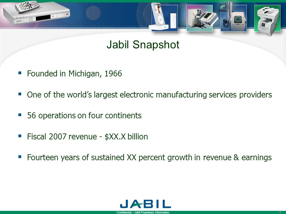 Jabil Snapshot Founded in Michigan, 1966