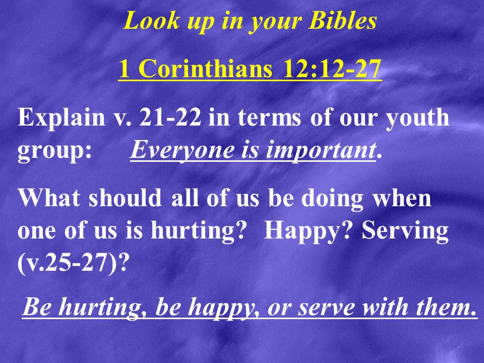 Look up in your Bibles 1 Corinthians 12:12-27. Explain v. 21-22 in terms of our youth group: