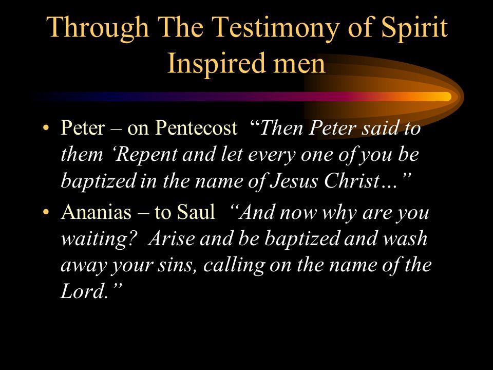 Through The Testimony of Spirit Inspired men