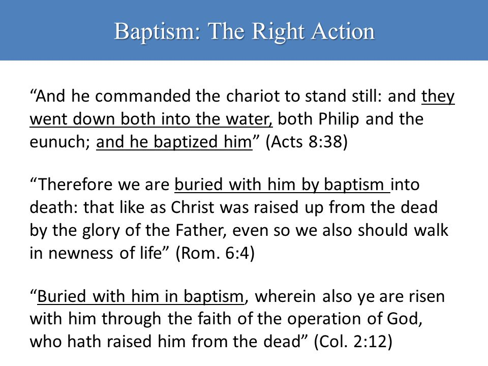 Baptism: The Right Action