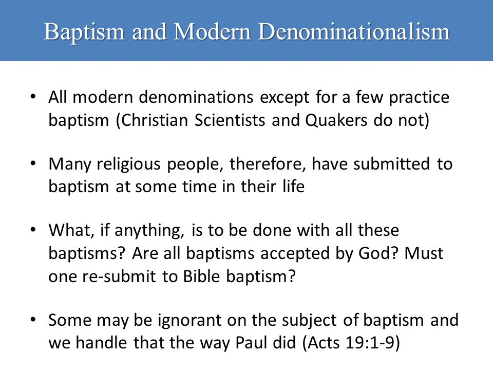 Baptism and Modern Denominationalism