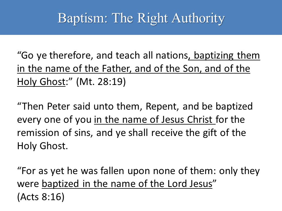 Baptism: The Right Authority