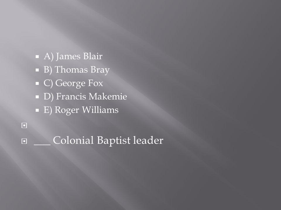 ___ Colonial Baptist leader