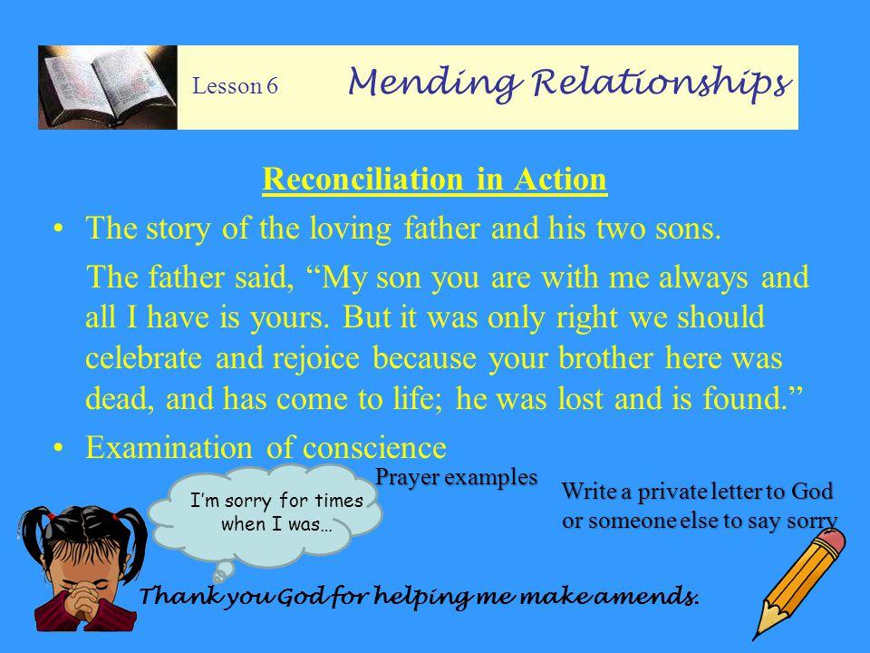 Lesson 6 Mending Relationships