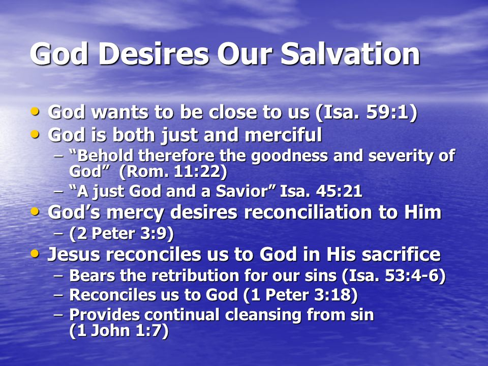 God Desires Our Salvation