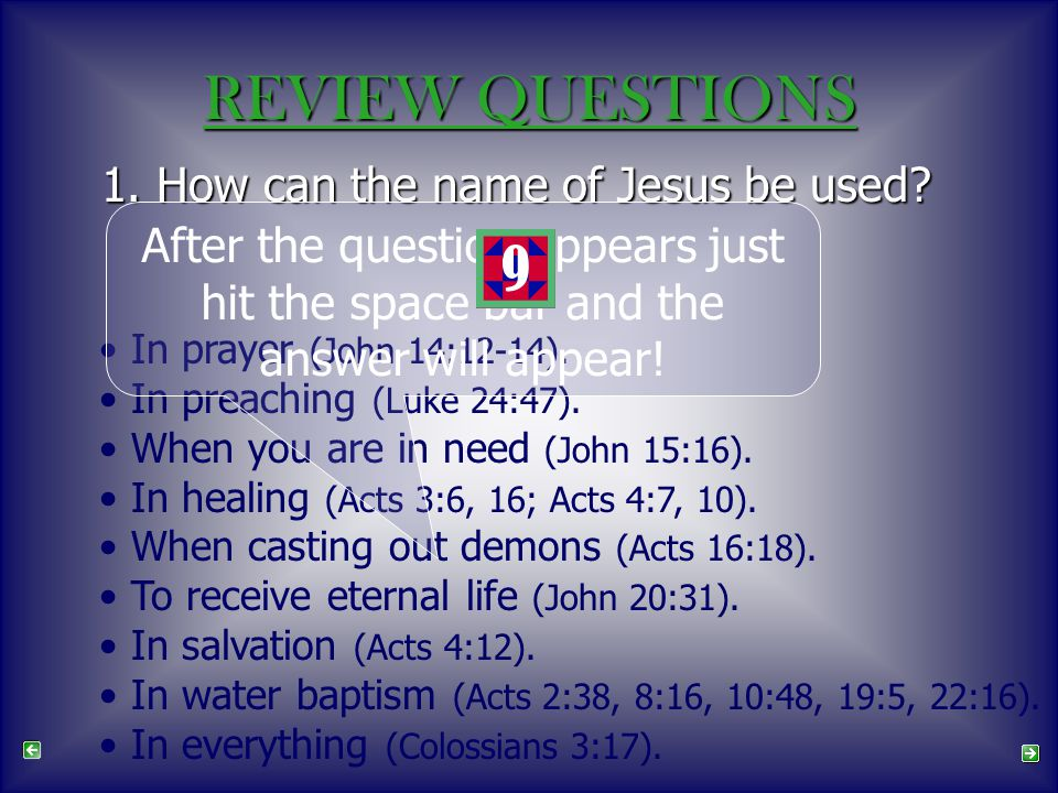 1. How can the name of Jesus be used