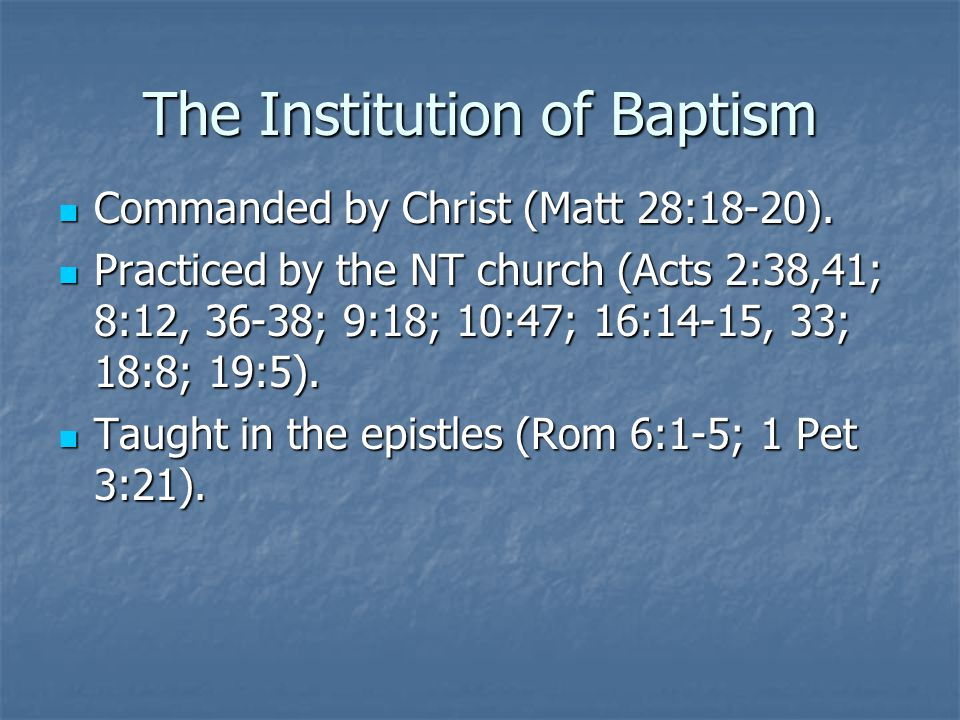 The Institution of Baptism