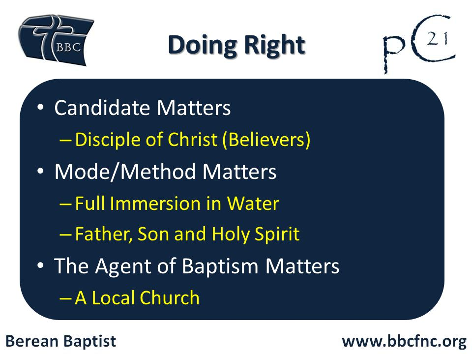 Doing Right Candidate Matters Mode/Method Matters