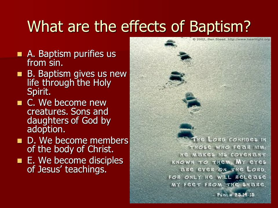 What are the effects of Baptism