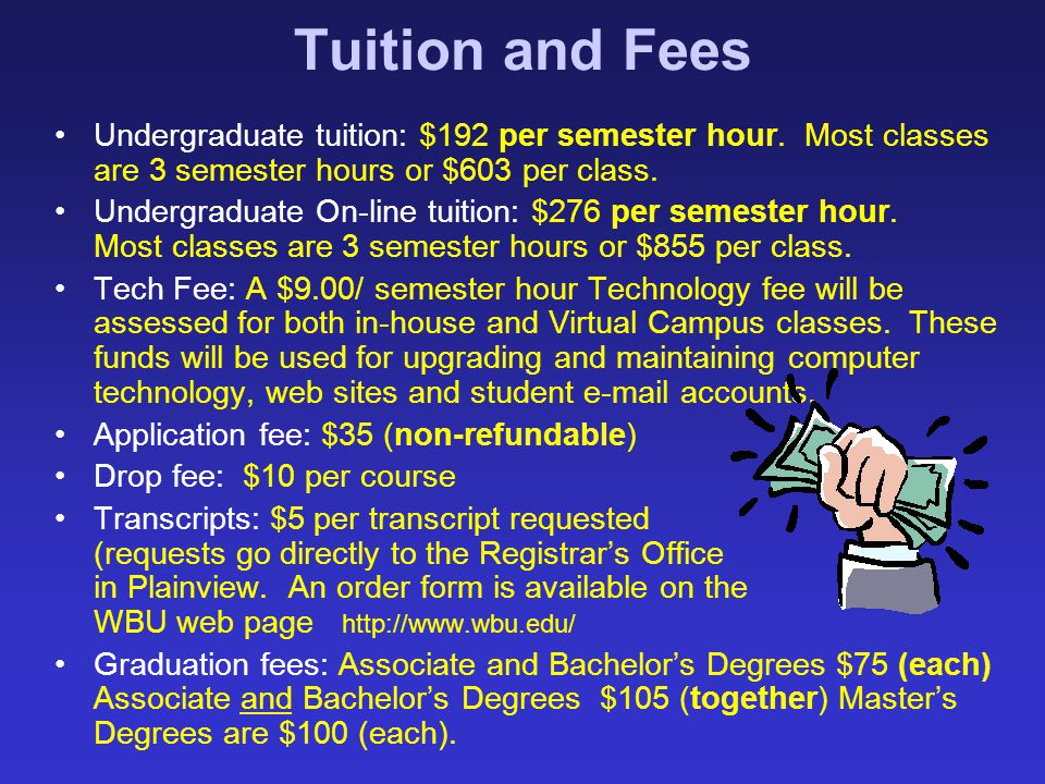 Tuition and Fees Undergraduate tuition: $192 per semester hour. Most classes are 3 semester hours or $603 per class.