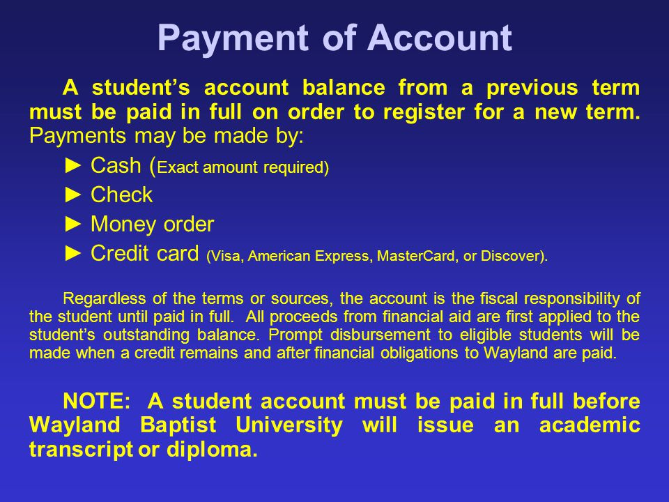Payment of Account