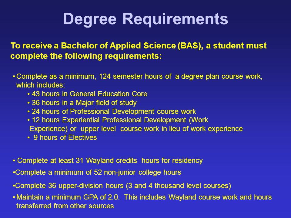 Degree Requirements To receive a Bachelor of Applied Science (BAS), a student must complete the following requirements: