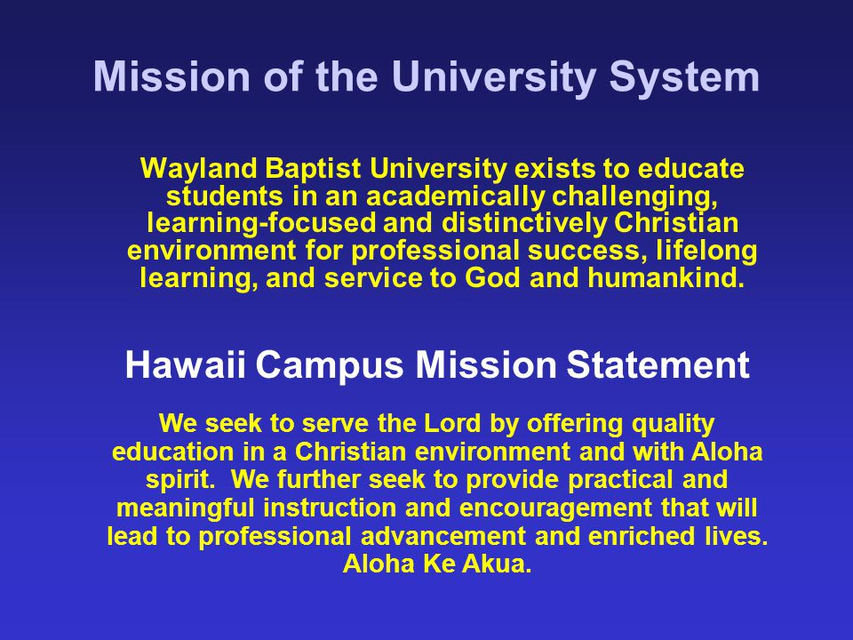 Mission of the University System