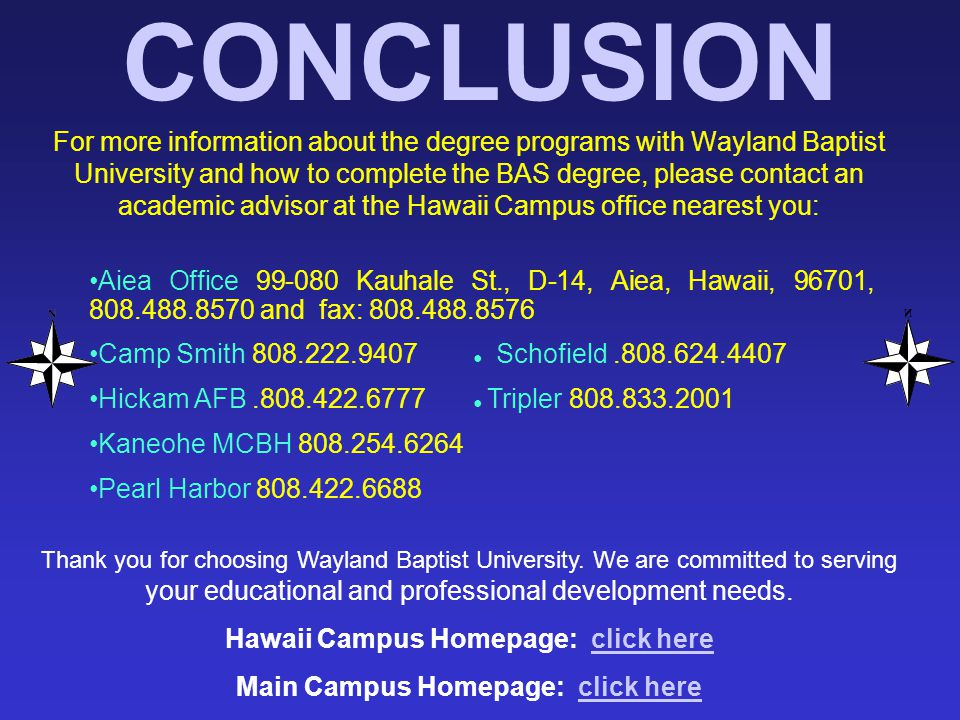 Hawaii Campus Homepage: click here Main Campus Homepage: click here