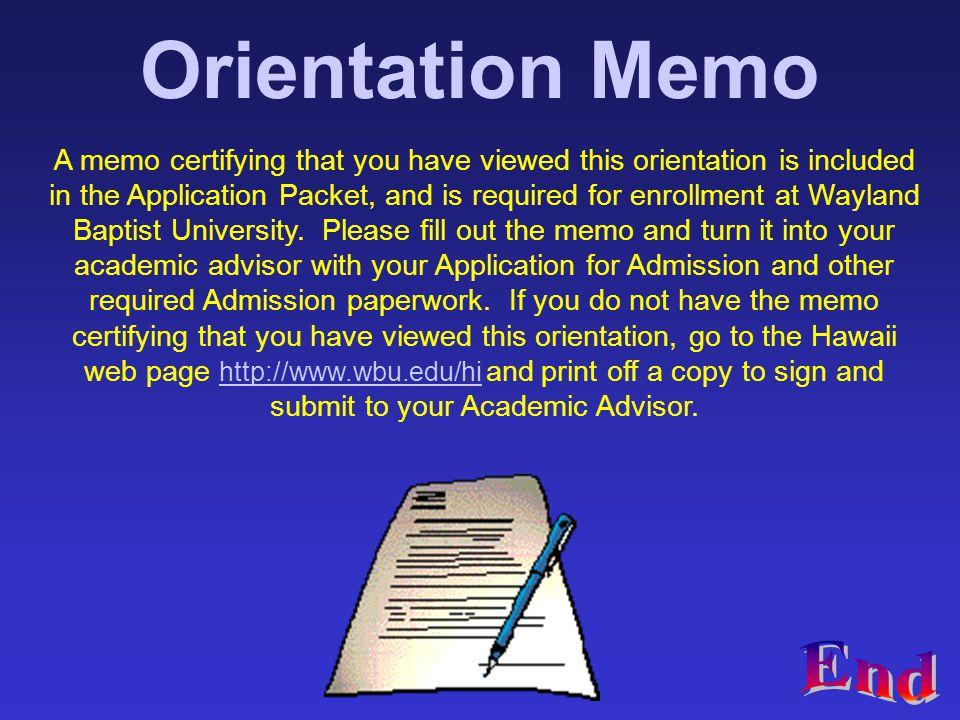 Orientation Memo