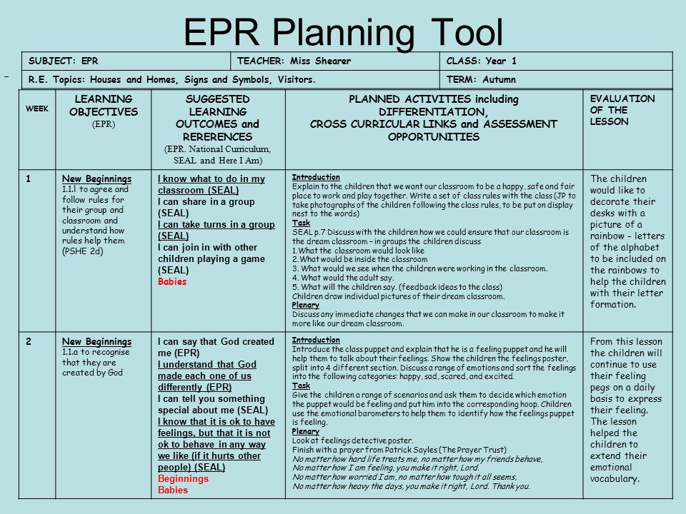 EPR Planning Tool LEARNING OBJECTIVES