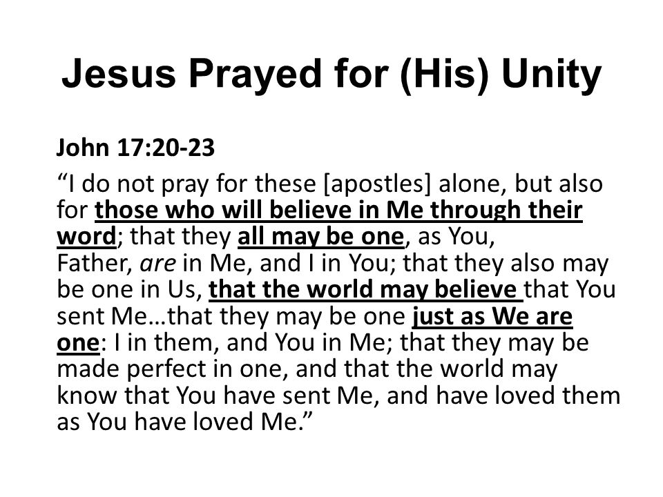 Jesus Prayed for (His) Unity