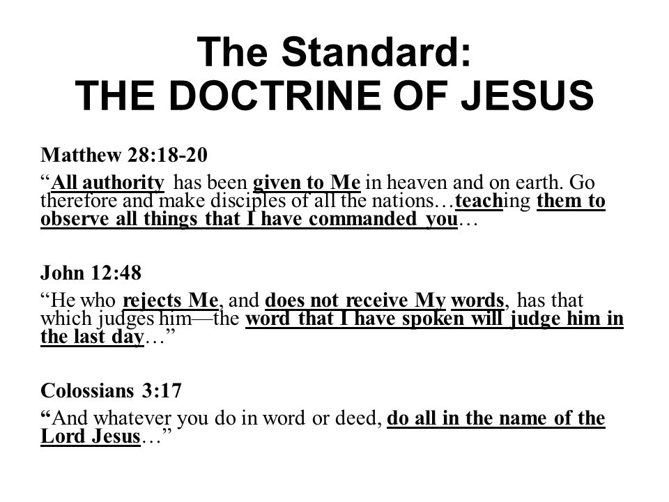 The Standard: THE DOCTRINE OF JESUS