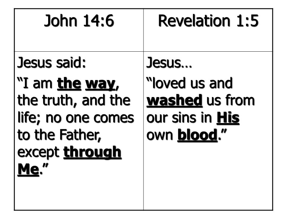 John 14:6 Revelation 1:5 Jesus said:
