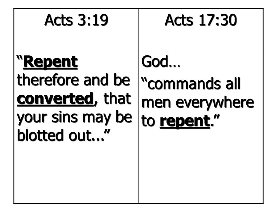 Acts 3:19 Acts 17:30. Repent therefore and be converted, that your sins may be blotted out... God…