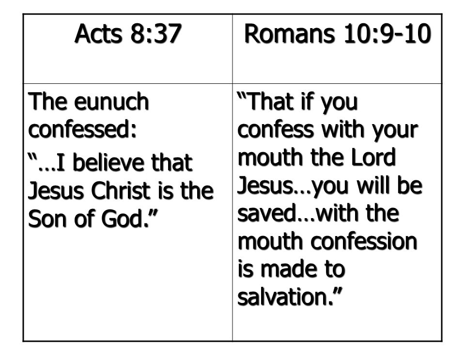 Acts 8:37 Romans 10:9-10 The eunuch confessed: